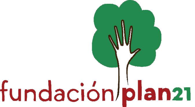 Logo de la Fundación Plan 21 - Árbol con mano, en colores rojo y verde.